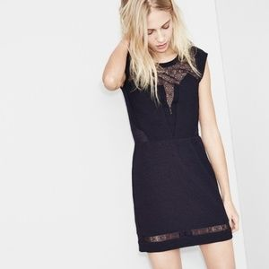 NWT The Kooples Textured Crepe Dress Lace Detail